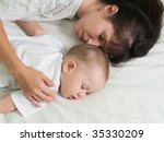 sleeping mother and cute child... | Shutterstock . vector #35330209