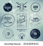 navy colored hand made labels... | Shutterstock .eps vector #353309441