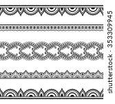 vector henna seamless borders.... | Shutterstock .eps vector #353309945