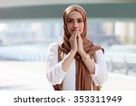 smiling girl in hijab covering...   Shutterstock . vector #353311949