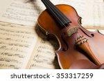 vintage violin on the  sheet... | Shutterstock . vector #353317259