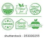 organic food labels set  vectors | Shutterstock .eps vector #353330255