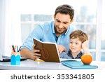 nice family photo of little boy ... | Shutterstock . vector #353341805