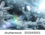 fir tree background with solar... | Shutterstock . vector #353345051