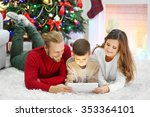 christmas family portrait in... | Shutterstock . vector #353364101