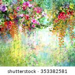 Stock photo abstract flowers watercolor painting spring multicolored flowers 353382581