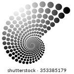 grayscale dotted spiral  volute ... | Shutterstock .eps vector #353385179