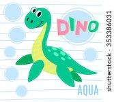 water dinosaur on striped...   Shutterstock .eps vector #353386031