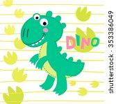 Постер, плакат: Dinosaur Rex on striped