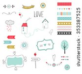 set of romantic and cute vector ... | Shutterstock .eps vector #353387525