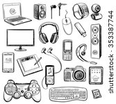 set of hand drawn gadget icons... | Shutterstock .eps vector #353387744