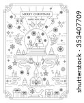 line art christmas poster | Shutterstock .eps vector #353407709