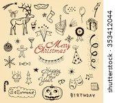 vector christmas cafe brochure... | Shutterstock .eps vector #353412044