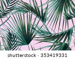 tropical palm leaves seamless... | Shutterstock .eps vector #353419331