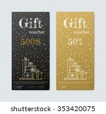 gift voucher in gold. gold and... | Shutterstock .eps vector #353420075