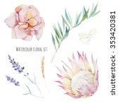 Watercolor Flowers Set. Hand...