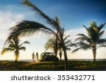 couple standing near palms on... | Shutterstock . vector #353432771