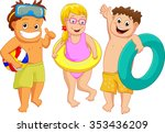 illustration of kids with beach ... | Shutterstock .eps vector #353436209