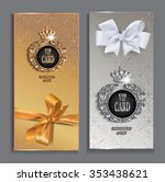 vip cards with gold design... | Shutterstock .eps vector #353438621