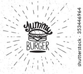 yummy burger vintage label in... | Shutterstock .eps vector #353446964