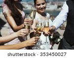 guests at a wedding with the... | Shutterstock . vector #353450027