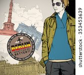stylish dude in sketch style on ... | Shutterstock .eps vector #353453639