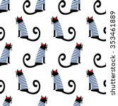 french style cat seamless... | Shutterstock .eps vector #353461889