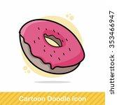 donut doodle   Shutterstock .eps vector #353466947
