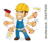 handyman holding multiple tools | Shutterstock .eps vector #353479205