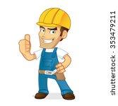 handyman giving thumb up | Shutterstock .eps vector #353479211
