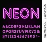 purple neon alphabet font.... | Shutterstock .eps vector #353484665