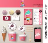 Stock vector vector ice cream corporate identity template design set branding mock up 353494349