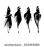 fashion models sketch hand... | Shutterstock .eps vector #353495084