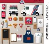 vector food truck corporate... | Shutterstock .eps vector #353497514