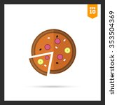 icon of pizza with cut slice | Shutterstock .eps vector #353504369