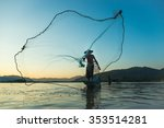 fisherman casting his net at... | Shutterstock . vector #353514281