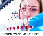 scientist woman in genetic... | Shutterstock . vector #353514809