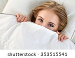 beautiful blonde woman hiding... | Shutterstock . vector #353515541