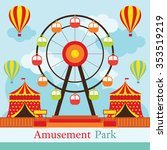 ferris wheel  amusement park ... | Shutterstock .eps vector #353519219