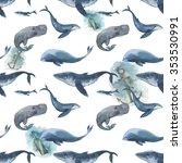watercolor seamless pattern... | Shutterstock . vector #353530991