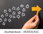 hand drawing orange arrow as... | Shutterstock . vector #353531531
