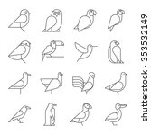 Stock vector bird icons thin line style flat design 353532149