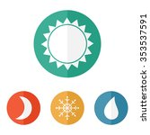 weather icons set in flat style.... | Shutterstock .eps vector #353537591