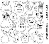 creative set of isolated sketch ... | Shutterstock .eps vector #353554655