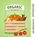 wooden box with vegetables and... | Shutterstock .eps vector #353556185