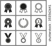 set of black award icons on... | Shutterstock .eps vector #353562641