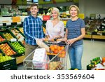 family  buying sweet fruits in... | Shutterstock . vector #353569604