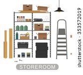 storeroom with metal storage.... | Shutterstock . vector #353572019