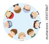 circle of people   various work ... | Shutterstock .eps vector #353573867