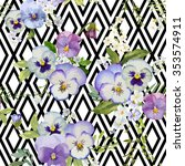 Pansy Flowers Geometric...